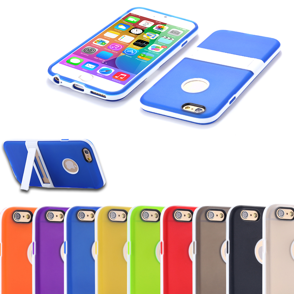 New Hot Ultra Thin Slim Cute Soft TPU Kickstand Foothold Case For Apple iPhone 6 Fresh Back Phone Cover With Body Stand Holder(China (Mainland))