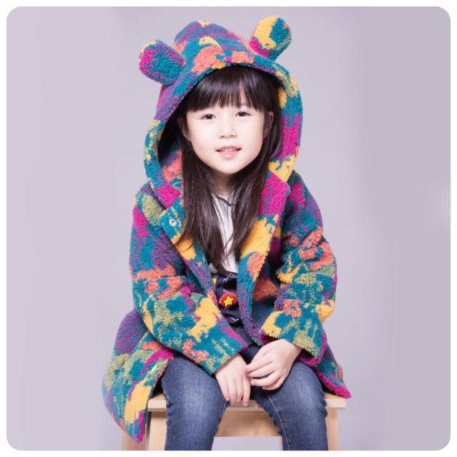 2014 female child winter child thickening berber fleece outerwear Camouflage bear with a hood wadded jacket girls coat warm <br>