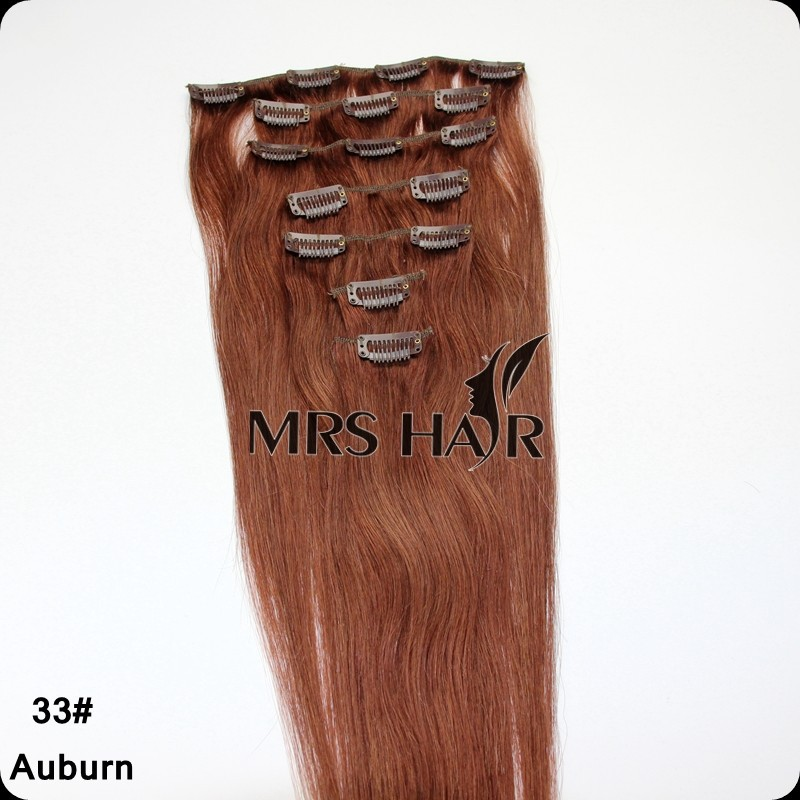 33# Cheap Dark Auburn Remy Indian Clips in Human Hair Extension 14″ 16″ 18″ 20″ 7pcs/set Natural Hair Clip in Hair Extensions