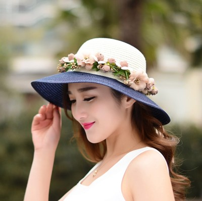 2016 New Fashion Women Summer Foldable Travel Sun Hat Beach Straw Knitted Hat Ladies Flowers Wreath Cap W178(China (Mainland))