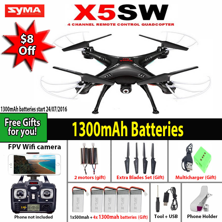 SYMA X5SW / X5SW-1 WIFI RC Drone Quadcopter with FPV Camera Headless 6-Axis Real Time RC Helicopter Quad copter Toys(China (Mainland))