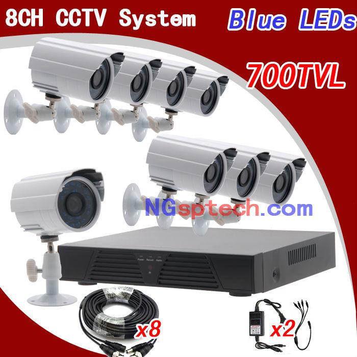 8Ch Full D1 HDMI H.264 DVR kit 700tvl 24 IR video outdoor weatherproof camera CCTV system Netowrk surveillance+! - Dongphia Intelligence store