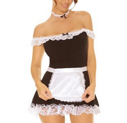 Sexy Lingerie Maid Role Play Seduction Sexy Women French Maid Lingerie Valentine Costume Cosplay Outfit Fancy Dress(China (Mainland))