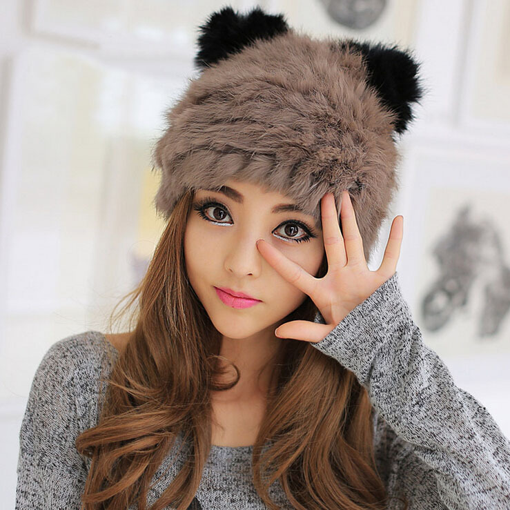 2014 New Women'S Fashion Hit Color Orecchiette Tightly Woven Hat Rabbit Fur Cap Sweet Lady Warm Winter HUA-MZ34 - Online Store 738068 store