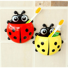 Ladybug Toothbrush Holder, 4 Colors Cartoon Suction Hook Toothbrush Rack, Wall Suction Holder Bathroom Sets(China (Mainland))