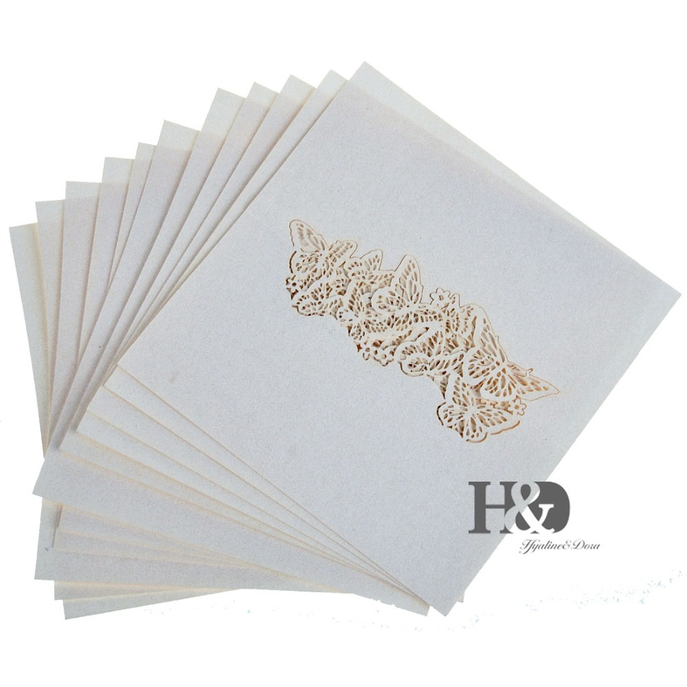 Laser Cut Paper Ivory Butterfly cut out 120 pcs Name Place Card Glass Cup Table Invitation Card Party Wedding Favors Decorations(China (Mainland))