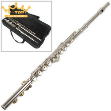 High Quality Silver Plated 16 Closed Holes C Key Flute with Cloth / Screwdriver / Case(China (Mainland))