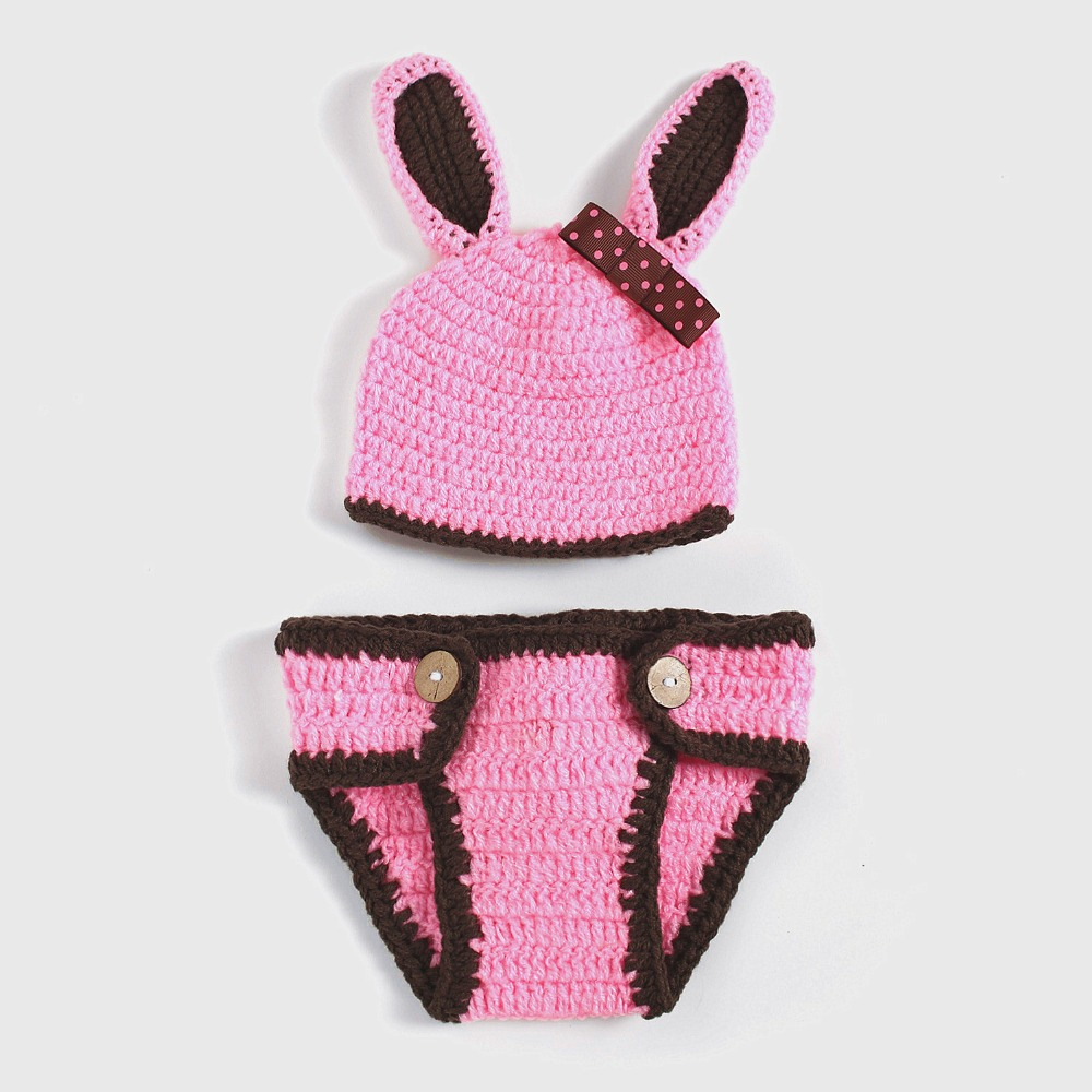 Photography Props Bunny Rabbit Cartoon Set Crochet Outfits Girl Baby Bow Hats With Baby Suit SY112(China (Mainland))