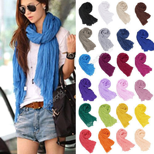 Cheapest ! 20 Colors 2015 Women Winter Autumn Cotton Crinkle Long Soft Cheap Scarves Bufandas Hijab Shawl Cape Cachecol 170*80cm(China (Mainland))
