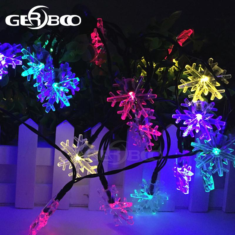 Outdoor Solar String Lights Patio 30 LED Garden Snowflake Light Solar Fairy  Light Christmas Garland Garden Party Decor