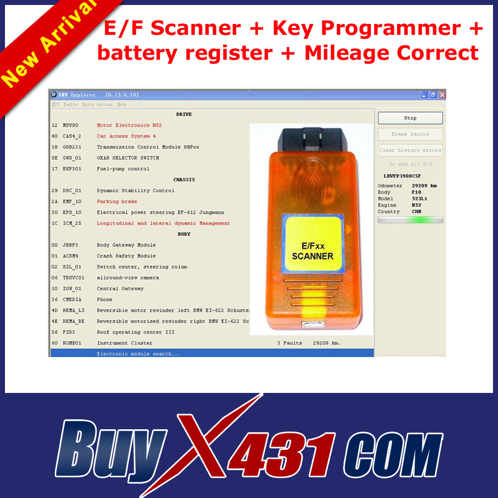 2014 Newly E/F E F OBD2 Diagnostic Scanner + Battery Registration Explorer + Key Programmer + KM Odometer + DHL Free Shipping(China (Mainland))