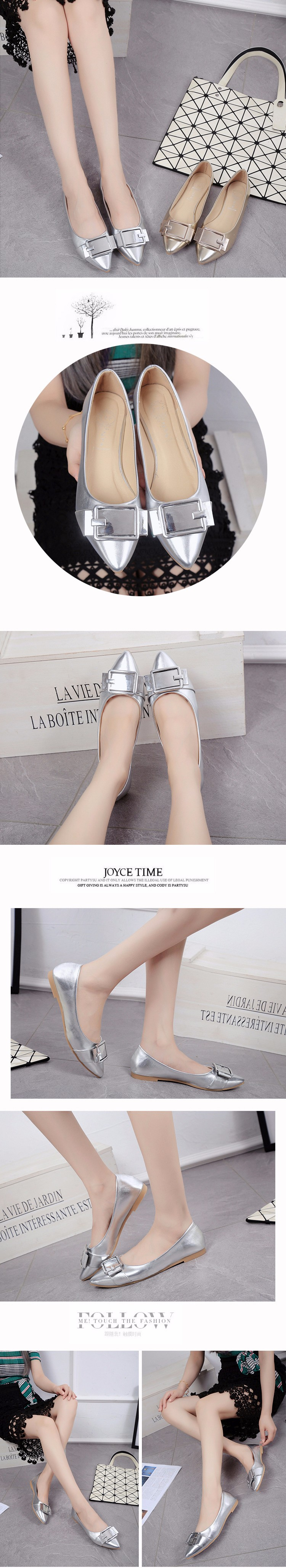 Pointed Toe shallow mouth of golden silver flat shoes Korean women shoe OL with low occupation commuting seasons of work shoes