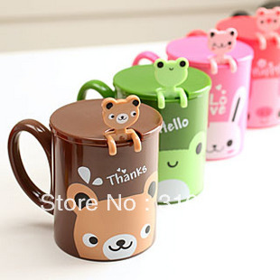 D1 Cartoon animal plastic cup cover and spoon, cute coffee mug, 1pc