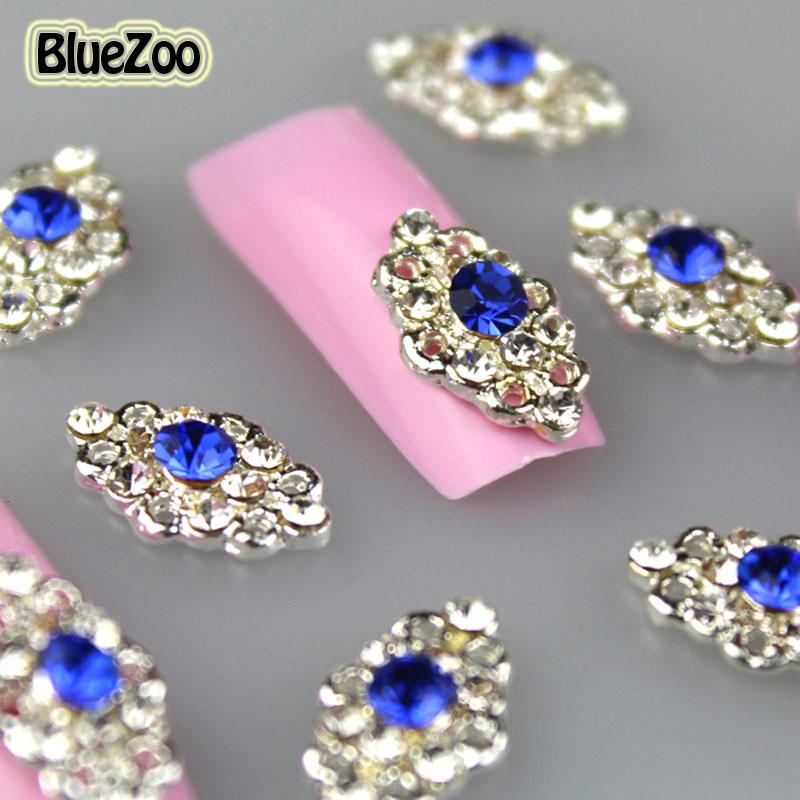 BlueZoo 10pcs Metal Glitter Nails Studs Full On Nail Blue 3D Nail Art Rhinestone Decoration Beauty Tips Accessories 13mm*8mm