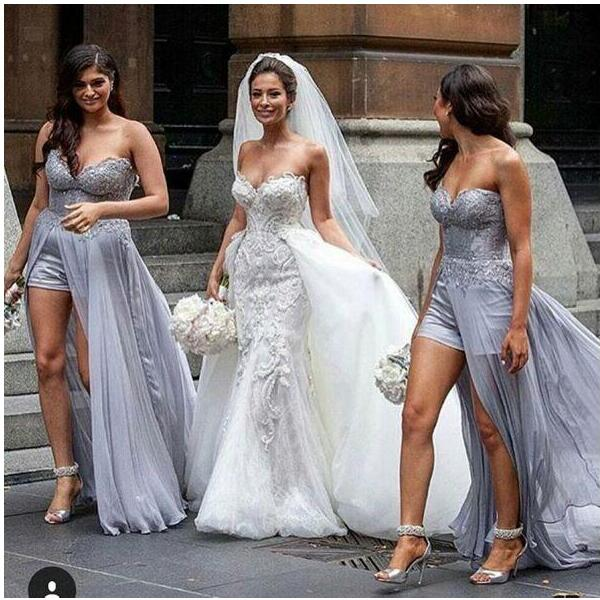 Steven khalil amazing silver lace chiffon beach bridesmaid for Steven khalil wedding dresses cost