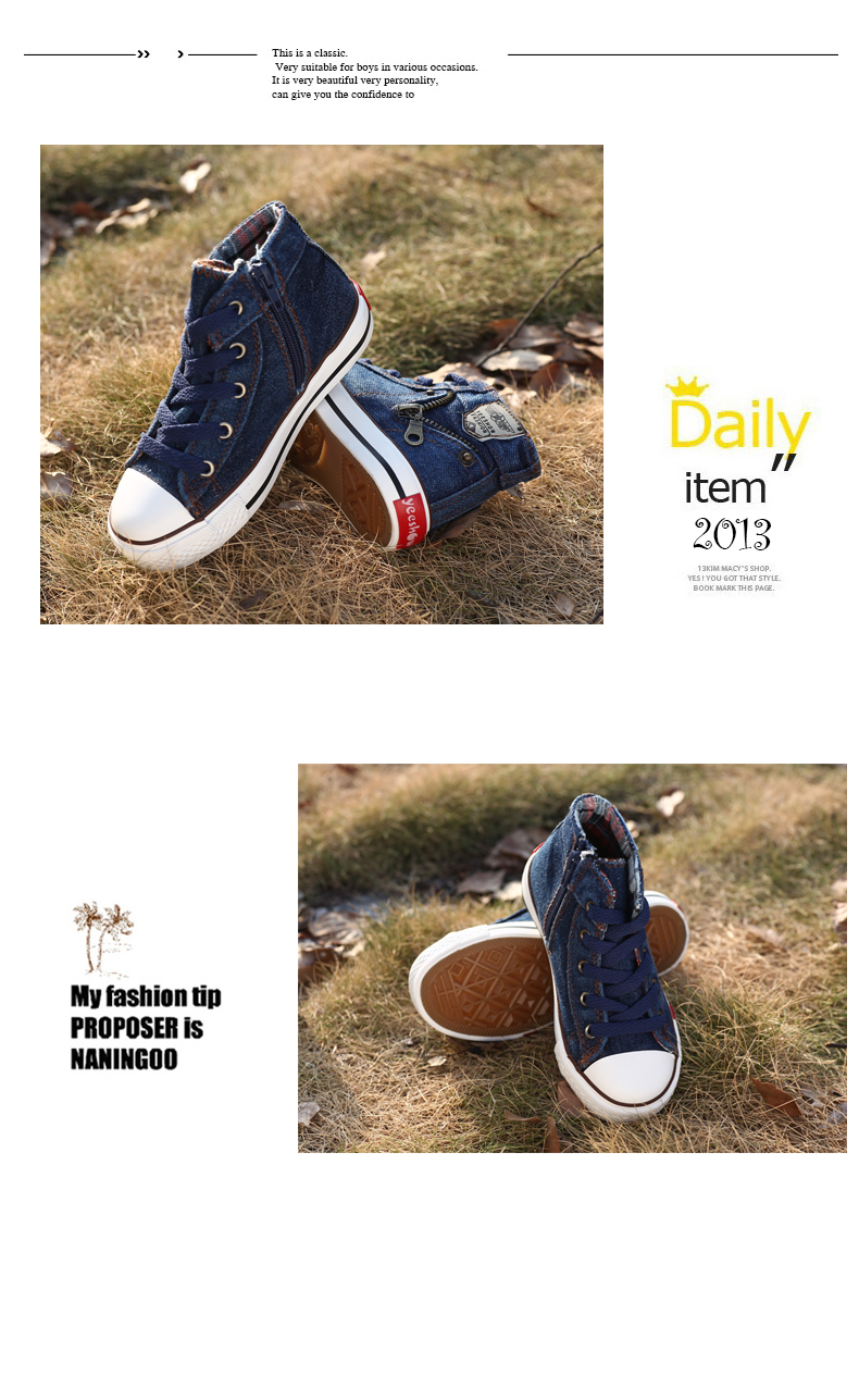 Size 25-37 Children Shoes Kids Canvas Sneakers Boys Jeans Flats Girls Boots Denim Side Zipper Shoes