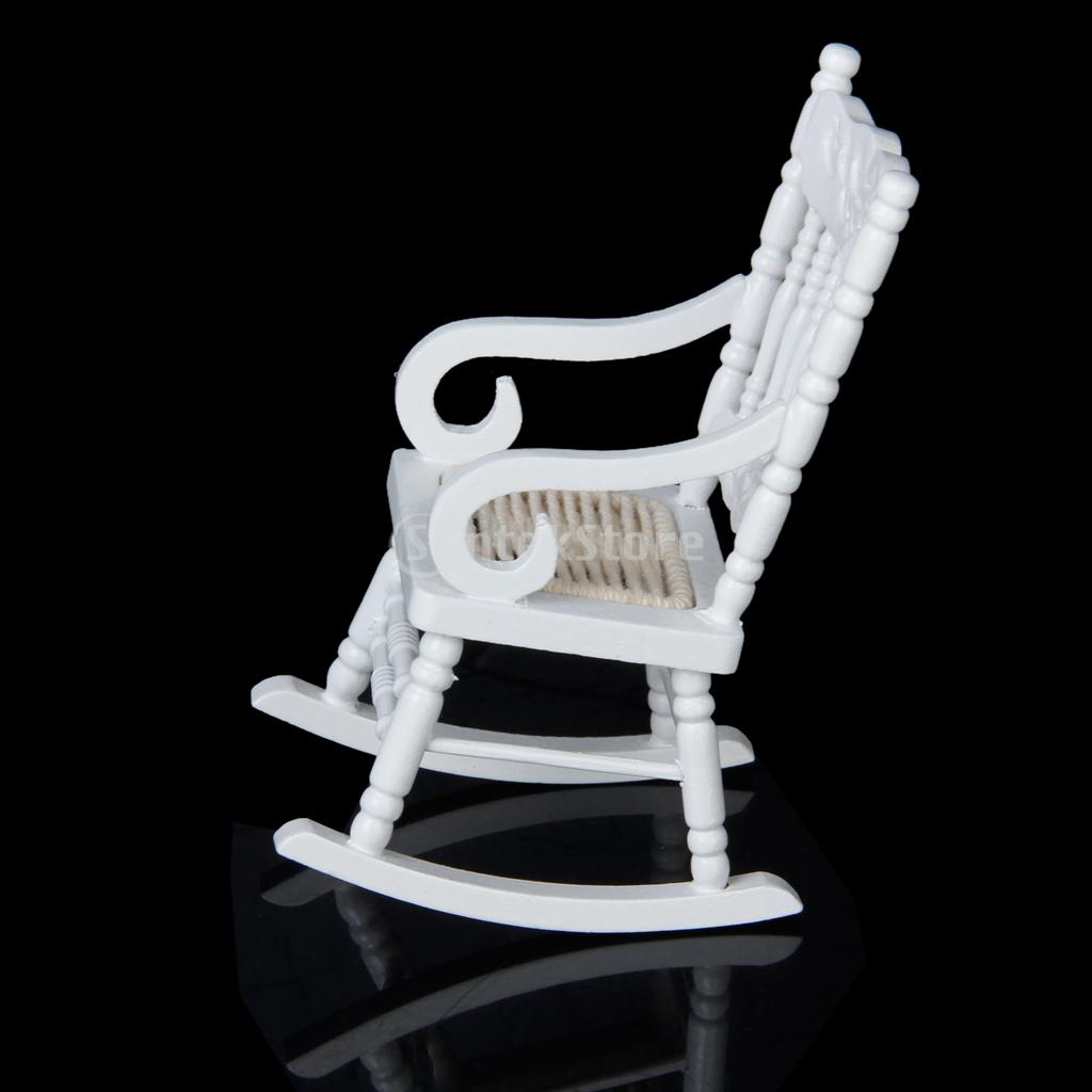 New 2014 Brand New 1 12 Dollhouse Miniature Wooden Rocking Chair Model White