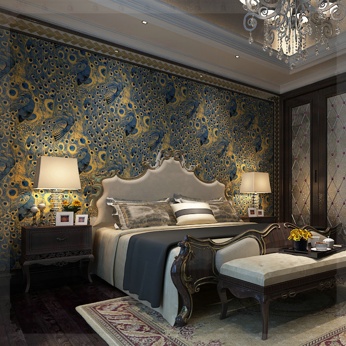Modern peacock wallpaper paper wall paper 3d roll gold for Gold wallpaper living room