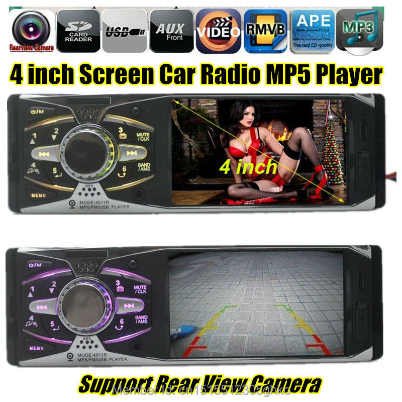 2015 4.0'' HD 12V REAR VIEW TFT Car Stereo Radio MP5 Player in single din AUX/SD/USB/FM 5V Charger Audio/Video/Car Electronics(China (Mainland))
