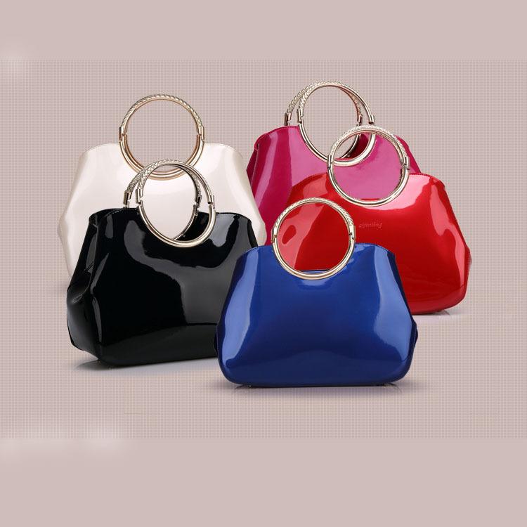 Free shipping shoulder clutch handbag women dust bottle bag crocodile patent leather evening bag Garra jacare(China (Mainland))