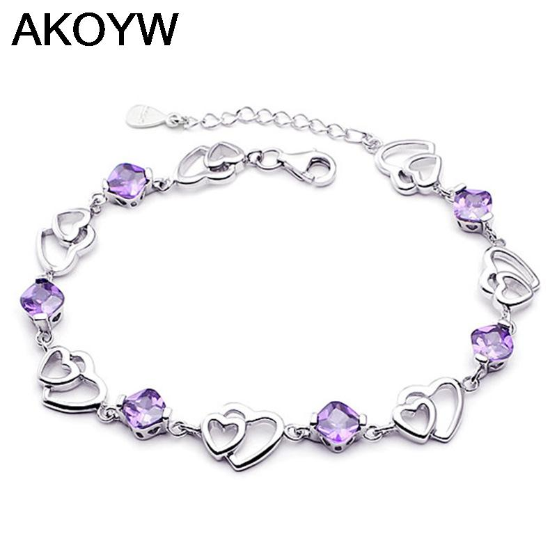 Silver plated double heart-shaped amethyst bracelet fashion female models cute vintage jewelry amethyst jewelry 17.5CM(China (Mainland))
