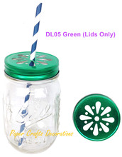 50pcs (Lids Only) Rustic Green Daisy Cut Drinking Mason Jar Lids For Straws or Candle lights Decor Wedding Birthday Party Favors(China (Mainland))