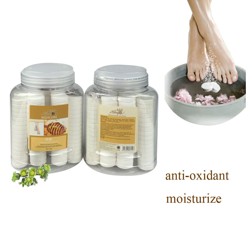Pedicure Soak For Foot Spa Tablet Have Fungus Treatment DE Stress Refresh Milk Honey 1000g Can