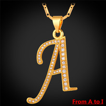 A to I 2016 New 26 Alphabet Letter Pendant Charm Necklace Women Men Jewelry Platinum/Gold Plated Initial Letter Necklace IP1671(China (Mainland))