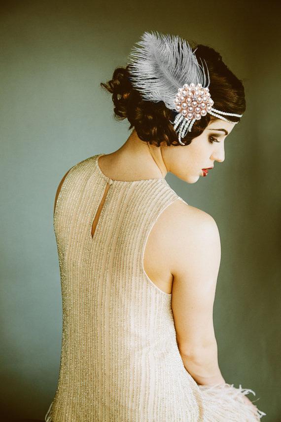 Flapper Headpiece, Vintage Inspired, Bridal Hairpiece ...