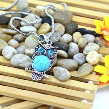 Women s Vintage Style Owl Inlay Crystal Eyes Turquoise necklace Silver Plated Female Decoration Jewelry Clothes