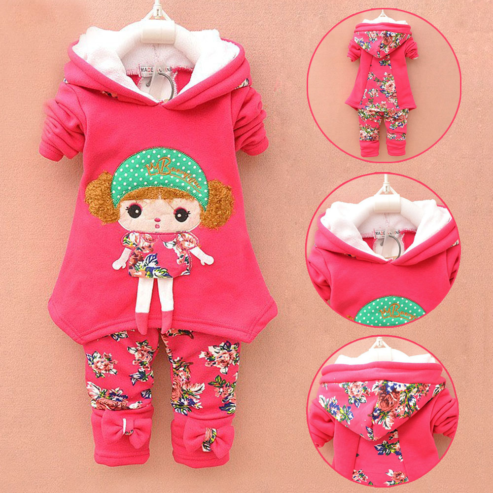 baby girls lamb wool suit warm winter thicken clothing sets children's hoodies set kids clothes set children christmas outfit(China (Mainland))