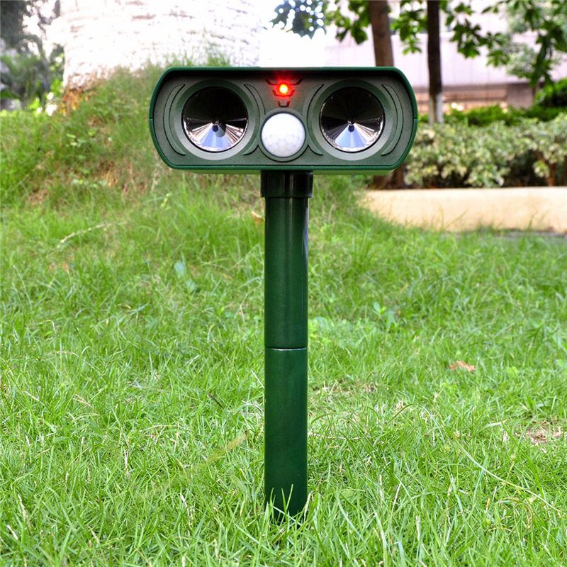 Hot Sale!!! Green Garden Cat Dog Pest Repeller Solar Power Ultra Sonic Scarer Frighten Animal Repellent Outdoor Use(China (Mainland))