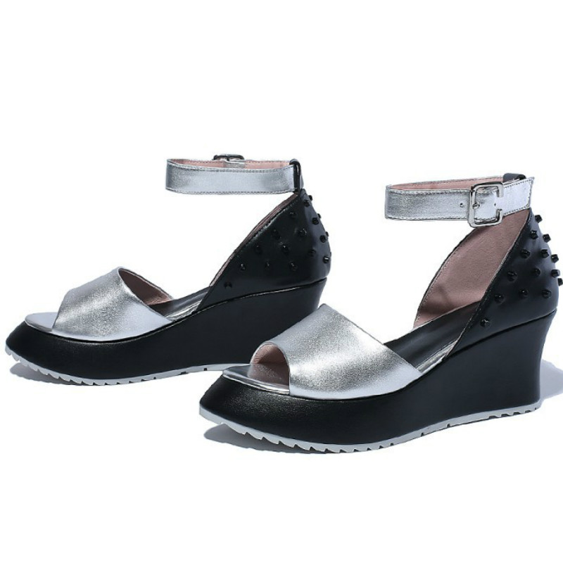Fashion summer women Cover heel ankle-strap sandals 2016 Rome style wedges genuine leather silver color shoes sandals(China (Mainland))