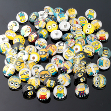 10pcs/lot high quality Small yellow people pattern ginger snaps Round glass snaps Bracelets fit 18mm snaps buttons jewelry kz15(China (Mainland))