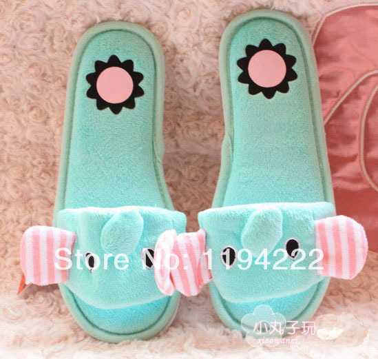Lovely Elephant slipper spring and summer older girls & women indoor open toe slippers mint green(China (Mainland))