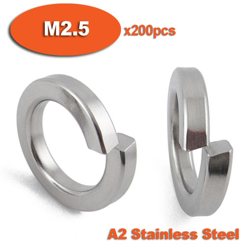 200pcs DIN127 M2.5 A2 Stainless Steel Spring Lock Washer<br><br>Aliexpress