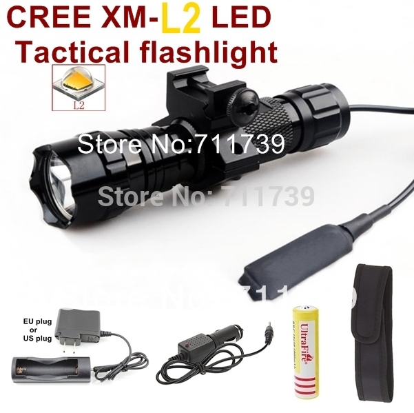 UltraFire 501B 1-Mode Cree XM-L2 Tactical light Torch Flashlight with Battery/Charger/Car charger/holster/mounts/Pressure Switch(China (Mainland))