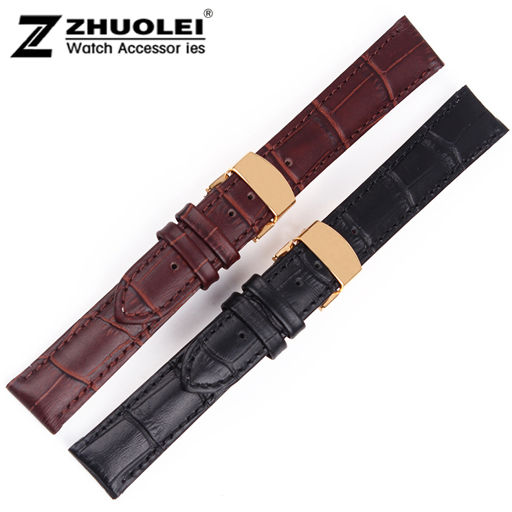 2014 New 17mm New High Quality Alligator Pattern Watch band Strap High Gold Polished Stainless Steel Clasp Buckle<br><br>Aliexpress