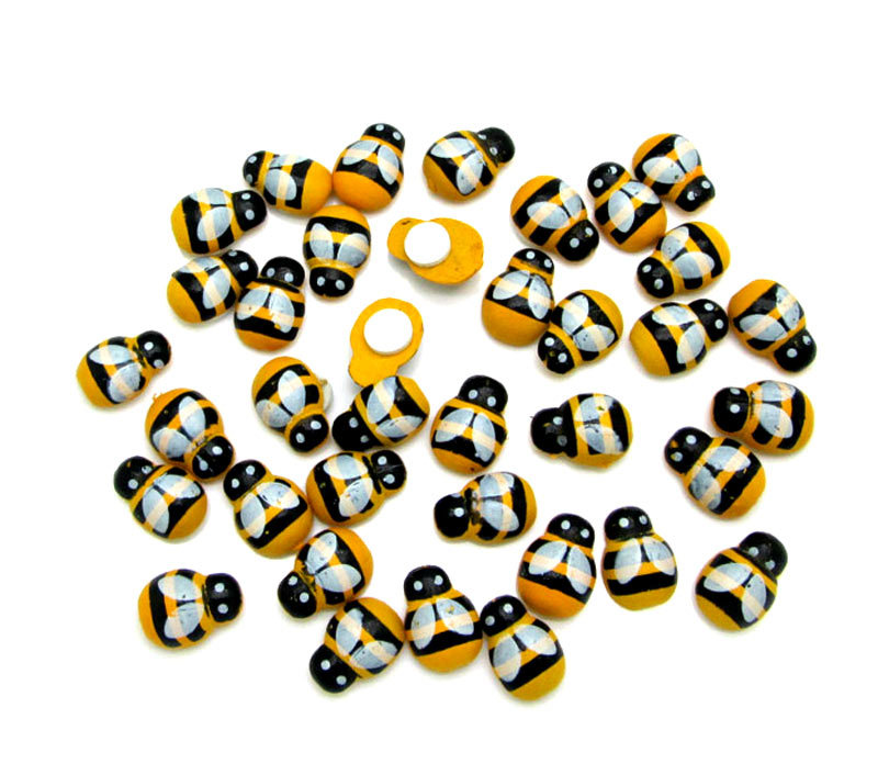 200Pcs Painted kawaii bee Wood Craft Fridge Paste Cabochon Scrapbooking Decoration 9x13mm(China (Mainland))