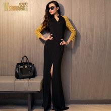 VERRAGEE Original 2016 spring new European and American fashion spell color V-neck long-sleeved split plus size maxi dress