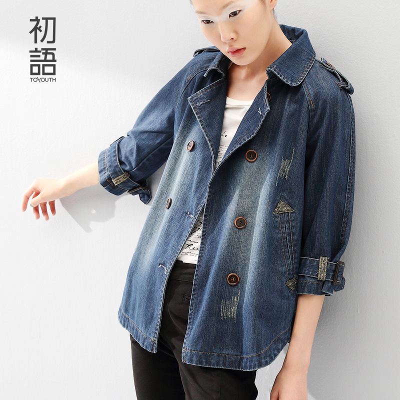 Toyouth 2015 Womens Three Quarter Sleeve Denim Outerwear Fashion Vintage Double Breasted Loose Women JacketОдежда и ак�е��уары<br><br><br>Aliexpress