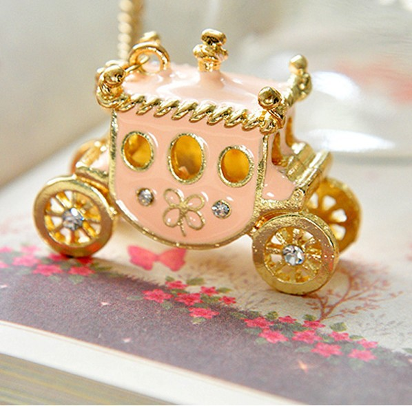 2014 Hot Sell Vintage Sweet Rhinestone Pumpkin Car Sweater Chain Necklace Pink XY-N174(China (Mainland))