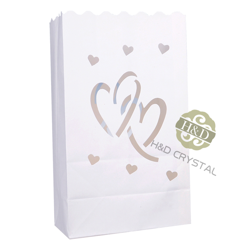 100PCS White Double Heart Tea light Holder Luminaria Paper Lantern Candle Bag BBQ For Christmas Party Wedding Outdoor Decoration(China (Mainland))