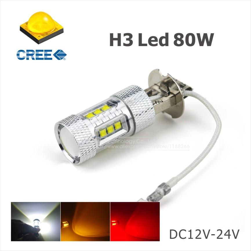 2x H3 80W CREE LED White/Red/Amber Car Auto Headlight Fog Lights DRL Daytime Running Lamp Bulb 6000K For DC 12V-24V Car Styling<br><br>Aliexpress