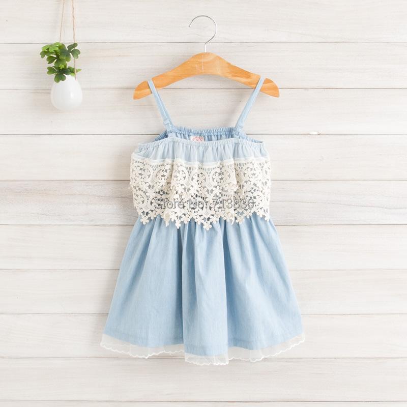 [Eleven Story] Girls summer baby children lace dress kids suspender cotton clothing ES12DS-81PO - Eleven Story store