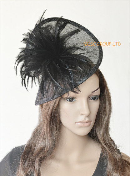 Black Dress bridal Sinamay feather fascinator hat for Church,Kentucky Derby,wedding,races,party(China (Mainland))
