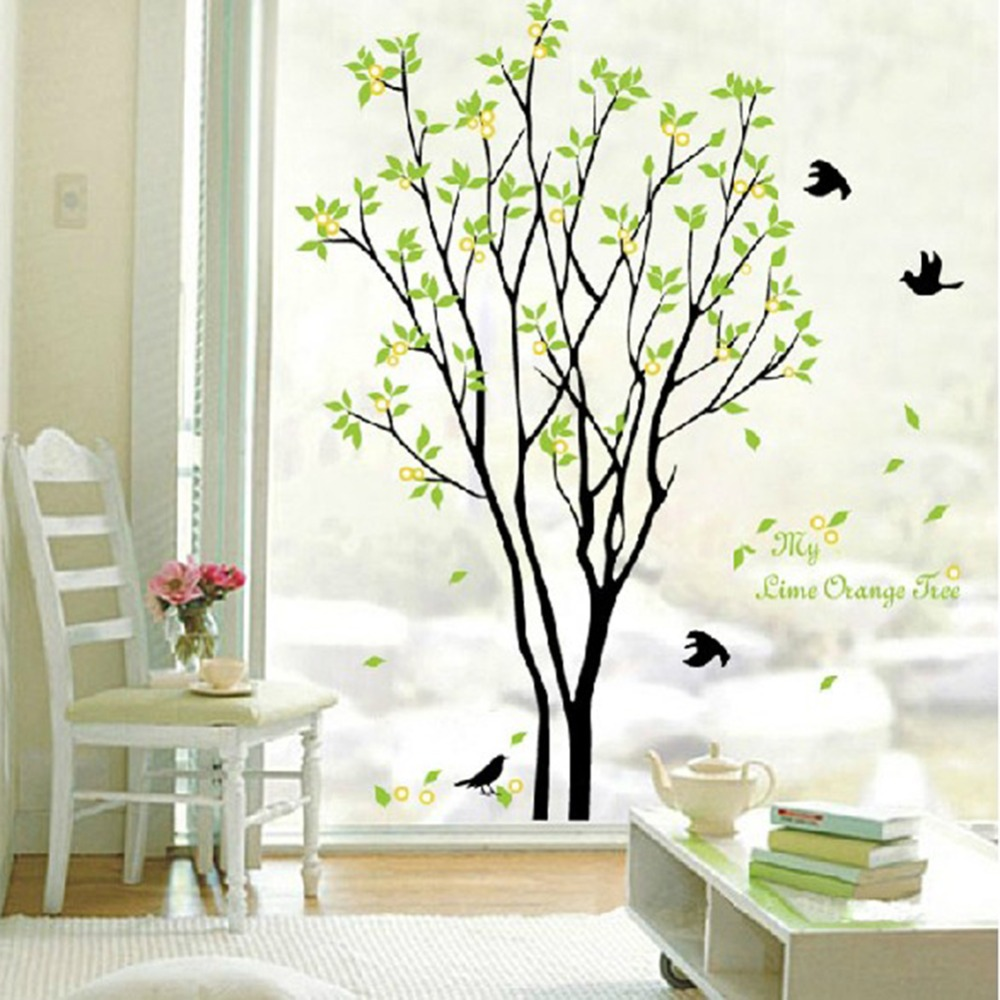Green beautiful tree and bird room decor art decals vinyl art removable wall sticker for home - Decorative wall sticker ...