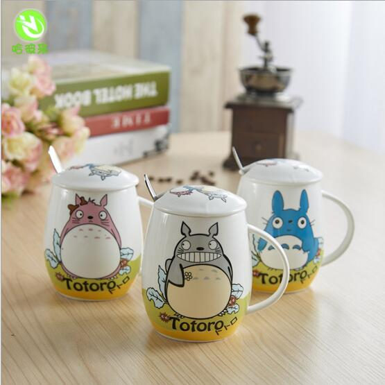 Novelty Totoro Cartoon Ceramic Mugs with Cover Spoon Water Container Cups Porcelain Tea Cup Coffee Mug(China (Mainland))