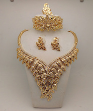 2016Bridal Gift Nigerian Wedding African Beads Jewelry Set Fashion Dubai 14K Gold Plated Jewelry Set Costume Design Big Necklace(China (Mainland))