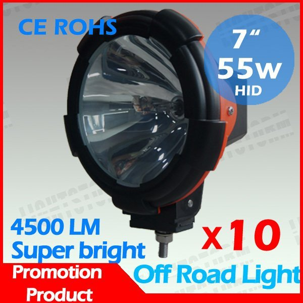 """10 Pcs 7"""" hid off road light ,cheap price +12 months warranty 7 inch ABS housing hid driving light, xenon work light"""